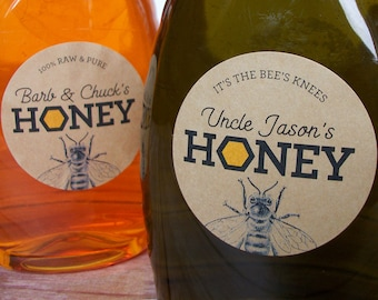 Custom KRAFT Honeycomb honey labels, customized honey bottle labels & jar labels personalized with YOUR text, gift for backyard beekeepers