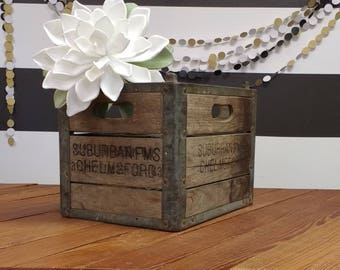 Vintage Wood and Metal Crate; Antique Milk Crate; Suburban Farms Dairy Chelmsford MA Milk Crate; Rustic Wedding Decor; Industrial Rustic