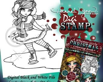 PRINTABLE Digi Stamp Ice Skating Fun Whimsy Girls Christmas Coloring Page Fun Fantasy Art Hannah Lynn