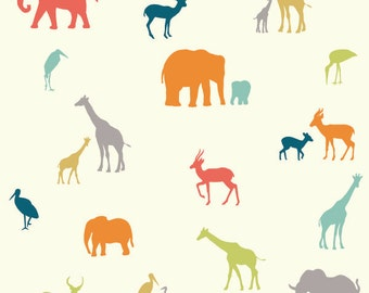 Red Orange Blue Grey and Cream Jungle Animal Tribe Organic Cotton Double Gauze For Birch Fabrics, 1 Yard