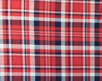 Red and Navy Plaid Brushed Poly Spandex Knit, 1 yard