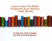 Polymer Clay Tutorial, How To Make Textured And Hollow Tube Beads (arcilla polimerica,d'argile de polymère)