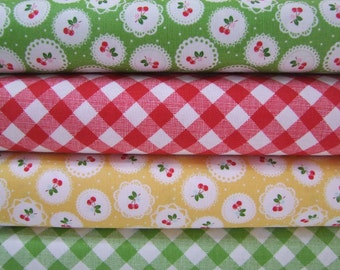 Cherry Plaid Fabric Sew Cherry Half Yard Bundle Lori Holt