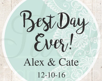 Wedding Favor Stickers, Bridal Shower Favor Labels, Personalized Stickers, Bachelorette Party Favors, Best Day Ever - Mint - Set of 24