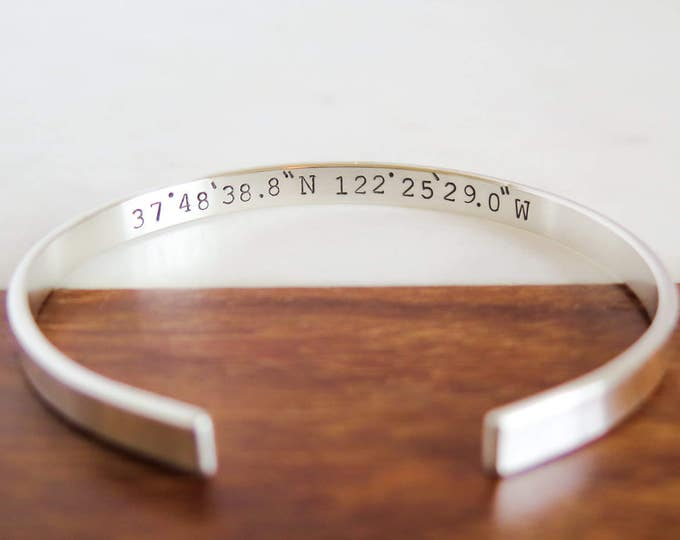 Coordinates Jewelry - Solid Sterling Silver Cuff Bracelet - Hand Stamped - Personalized - Custom Made - by Betsy Farmer Designs - Handmade