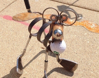 Golf Recycled Dog Yard Art Garden Sculpture Upcycle