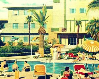 Swimming Pool Art, Mid Century Modern Art, Swimming Pool Decor, Summer Art, Summer Beach Art, Beach House Art, Palm Springs Mid Century Art