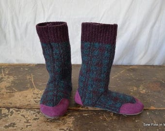 Youth size 1 (EU 31.5) PURPLE PLAID Felted Wool Soccasins with Leather Soles, Toes and Heels
