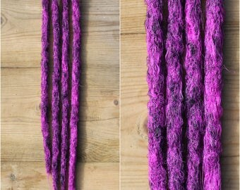 Neon Violet and Black Clip in Crochet Synthetic Dreads
