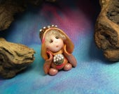 """20% off with Coupon Code: MICROGNOME20 Tiny 'Mertha' Princess Gnome with jewels 1+1/2"""" by Sculpture Artist Ann Galvin Art Doll"""