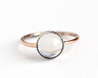 Antique 10k Rose Gold & Silver Solitaire Moonstone Ring - Vintage Size 7 Edwardian Early 1900s Alluring Orb Gemstone Fine Jewelry