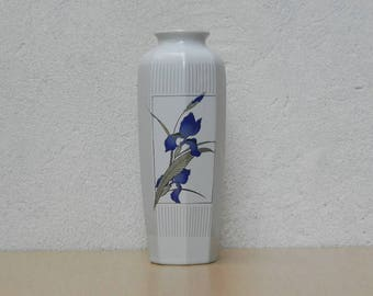 White Japanese Vase with Purple Irises
