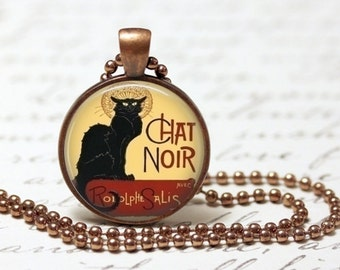 "Chat Noir Pendant Necklace 1"" Glass Round Dome Jewelry Charm"