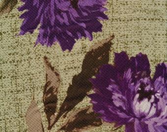 Purple Peonies Silk Scarf ECHO vintage long green designer