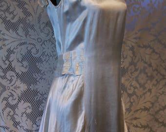 Antique 1920s Flapper Era Silk Wedding Dress Low Back Silk Rosette Peplum