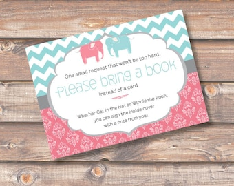 Cute Elephant Twins Printable Stock the Library Enclosures Bring a Book Cards Boy Girl Twins Chevron Stripes Elephant Baby INSTANT DOWNLOAD