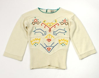 vintage 1970s tiny knit • embroidered boho bell sleeve sweater