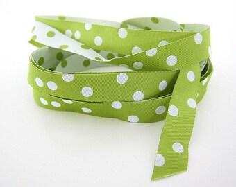 Jacquard Ribbon, Lime and white spot Ribbon,  Farbenmix woven reversible lime and white spot ribbon,  Sewing Tape, 1 metre