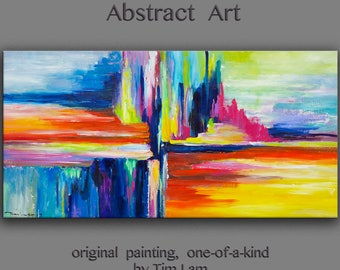 """Original Abstract Painting Wall Art Oil Painting 48""""x24"""" Canvas  Original Modern Home Deco, Wall Hanging, Surreal CITY by Tim Lam"""
