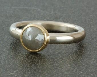 Rose cut diamond in 14 karat two tone ring