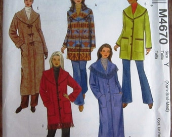 Misses Jackets and Coats, Unlined and Loose-fitting Sizes XS S M McCalls Pattern M4670 UNCUT