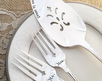 """Forks & cake server set """"flirtation / fredericksburg"""", hand stamped"""