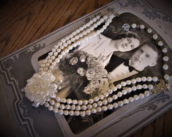 Early 40s Bridal Necklace Vintage Faux Fresh Water Pearls 3 strands Focal Celluloid Rose with Crystal Stems and Tiny Pearls