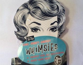 1960 Vintage Fancy Tulle Hair Net With Ivory Velvet Bow Unworn