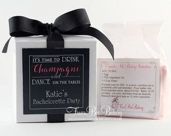 DRINK CHAMPAGNE - One Dozen (12) Bachelorette Party Bridal Shower Cupcake Mix Party Favors