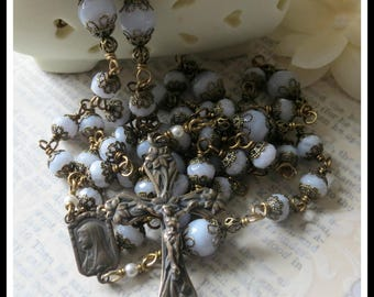 Elegant Catholic Rosary for Women in Blue Lace Agate, Wire Wrapped in Bronze ~ Heirloom Quality, Perfect for Bride's Wedding Bridal Bouquet