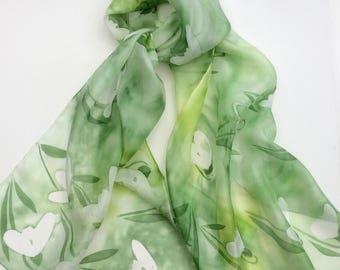 Snowdrops hand painted silk scarf.  Ladies silk scarves