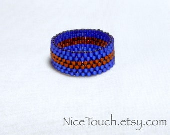SUMMER SALE!!! Free Shipping or Save 20% ~ Harry Potter Ravenclaw wide woven peyote beaded ring ~ Made to Order