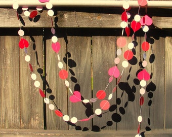 Paper Circle and Heart Garland for Valentines or Wedding 10ft LONG READY to SHIP Garland in Red Pink and White