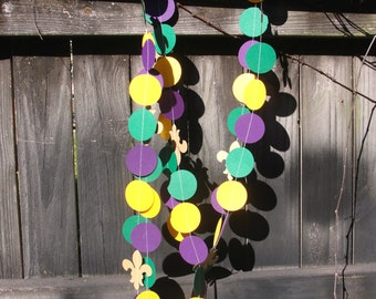 Paper Circle and Fleur de Lis Garland, Mardi Gras Party or Wedding Decoration, 10 ft READY to SHIP