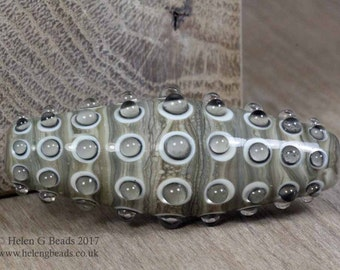 Bumpy, Lampwork Bicone Bead in ivory, beige and brown by Helen Gorick