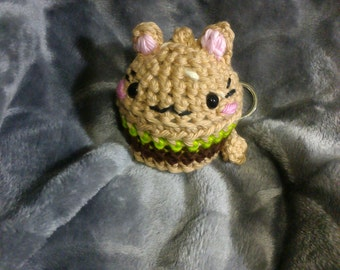 Crochet hamburger kitty cat keychain READY TO SHIP