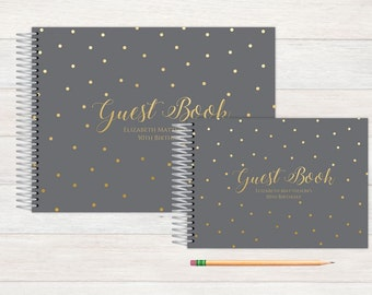 Birthday Guest Book, Birthday Guestbook, Birthday, Custom GuestBook, Personalized GuestBook, Birthday Registry Book,  grey and gold