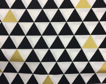 Black Gold White Triangles Crib Sheet/Changing Pad Cover/Mini Crib Sheet - For your Gold Nursery - Gender Neutral - by Mommy Moxie on Etsy