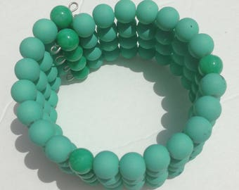 Pale Green Rubber Coated Bead Memory Wire Cuff Bracelet