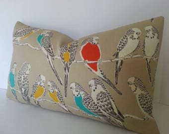 All Sizes / Indoor Outdoor Designer Bird Pillow Cover / Both Sides / Turquoise / Orange / Yellow  / Charcoal and Tan