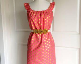 Raspberry Sorbet Dress for Women and Teens - Womens Dress - Raspberry Pink and Gold Dress - Gold Dot - Gold Polka Dot - Pink Polka Dot Dress