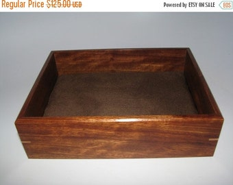 "HOLIDAY SALE Exotic Valet Box. Wooden Tray Upholstered in Suede Fabric. 8.25"" x 6.25"" x 2.25"". Dresser Box."