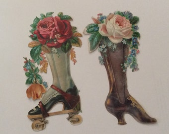 Victorian Scrap ....Two Boots and Flowers...Original Scrap...early 1900s, Vi torian Collectible