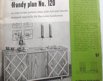 """1950's Woodworking Plans - Better Homes and Gardens Handy Plan 120, 60"""" Cabinet With Sliding Doors, Unopened"""