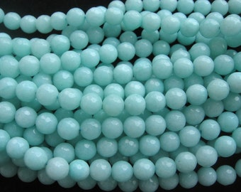Beautiful Light Blue Jade Faceted Round Beads 8mm - 15 Inch Strand