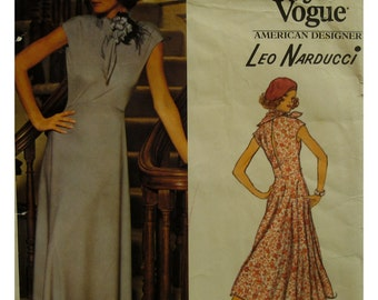 70s Leo Narducci Bias Cut Dress Pattern, Cap Sleeves, Flared Skirt, Open Back, Evening Wear, Vogue American Designer No. 1202 UNCUT Size 10