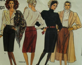 Fitted Skirt Pattern, Straight, Seam Variations, Hemline Vent, Waistband, Carriers, Vogue No. 1780 UNCUT Size 12 14 16  Fr/Eng Instructions