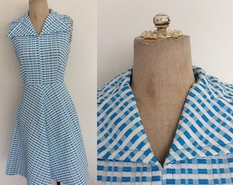 30% OFF 1970's Plaid Turquoise Polyester Dress w/ Exaggerated Collar Size XS Small by Maeberry Vintage