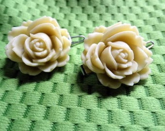 Yellow Clay Flower Hair Barrettes