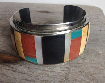 retro inlay cuff bracelet mosaic turquoise - pearl - onyx -shell on chrome